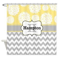 Gray Yellow Blooms Personalized Shower Curtain