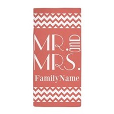 Coral White Chevron Mr Mrs Personali Beach Towel