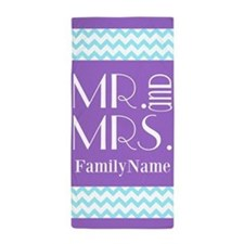 Personalized Mr. Mrs. Chevron Beach Towel
