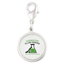 Chemistry Is Like Cooking Silver Round Charm