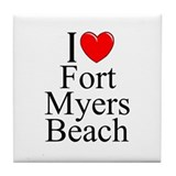 """I Love Fort Myers Beach"" Tile Coaster"