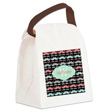 Monogram Funny Mustaches Pattern Canvas Lunch Bag