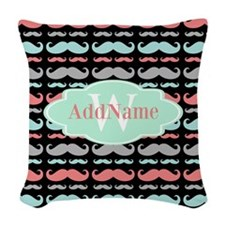 Monogram Funny Mustaches Pattern Woven Throw Pillo