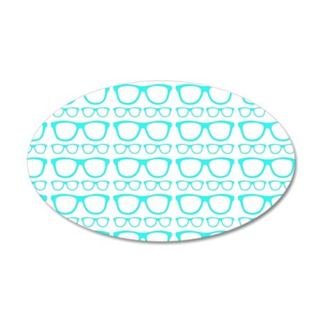 Cute Retro Eyeglass Hipster 35x21 Oval Wall Decal