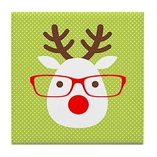 Hipster Reindeer Tile Coaster