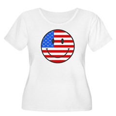Smiley Face Fourth Of July Women's Plus Size Scoop