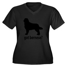 Cute Bernese mountain dog Women's Plus Size V-Neck Dark T-Shirt
