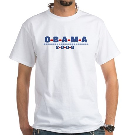 Obama 2008 (dash) White T-Shirt