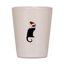 Christmas Le Chat Noir With Santa Hat Shot Glass