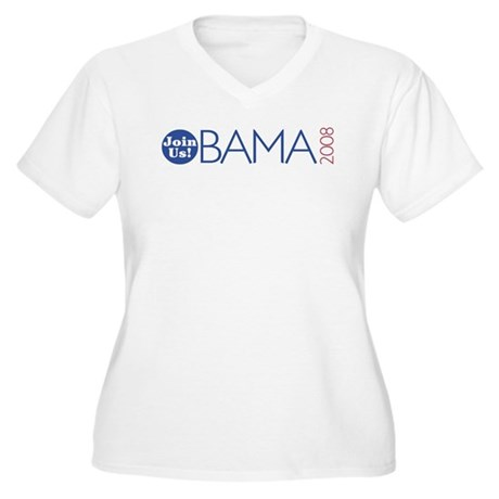 Join Obama 2008 Women's Plus Size V-Neck T-Shirt