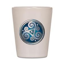 Celtic Double Triskelion - Blue Shot Glass