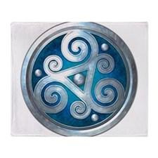 Celtic Double Triskelion - Blue Throw Blanket