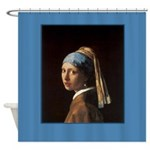 Girl With A Pearl Earring Vermeer Shower Curtain
