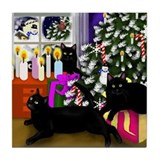 BLACK CAT CHRISTMAS Tile Coaster
