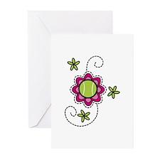 Tennis Flower Greeting Cards