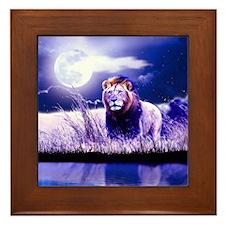 Contemplative Lion Framed Tile