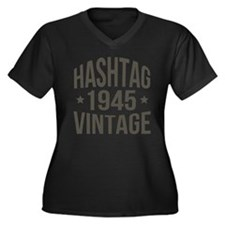 Hashtag 1945 Women's Plus Size V-Neck Dark T-Shirt