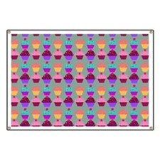 Yummy Sweet Cupcake Pattern Banner