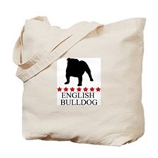 English Bulldog (red stars) Tote Bag
