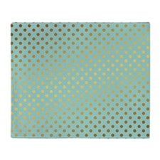 Mint and Gold Polka Dots Pattern Throw Blanket