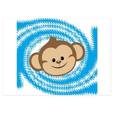 Monkey Face Blue Invitations