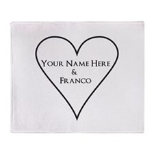 White Heart Your Name and Franco Throw Blanket