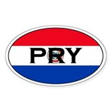 Paraguayan Flag with text Oval Decal