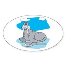 Cute Grey Walrus Oval Decal