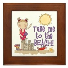 To the Beach (Girl) Framed Tile