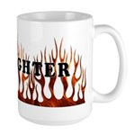 Firefighter Tribal Flames Large Mug