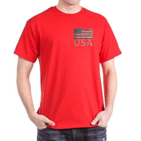 USA Distressed Flag 4th of July Dark T-Shirt