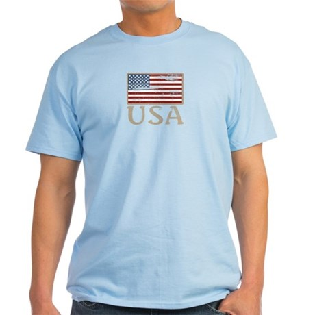 USA Distressed Flag 4th of July Light T-Shirt
