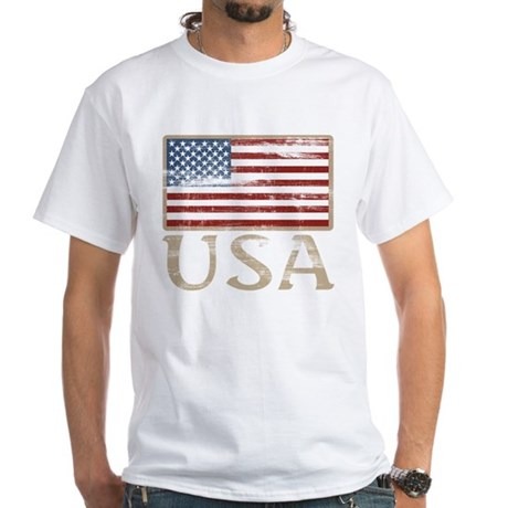 USA Distressed Flag 4th of July White T-Shirt
