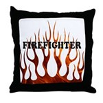 Firefighter Tribal Flames Throw Pillow
