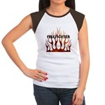 Firefighter Tribal Flames Women's Cap Sleeve T-Shi