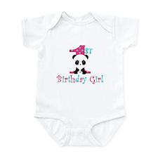 1st Birthday Girl Panda Bear Body Suit