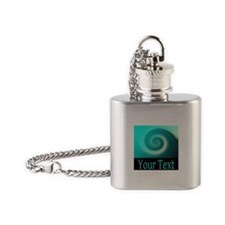 Personalizable Teal Wave Flask Necklace