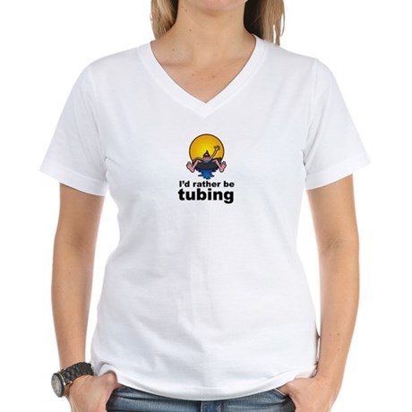 I'd Rather be tubing River Sport Women's V-Neck T-