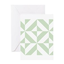 Sage Green Geometric Deco Cube Pattern Greeting Ca