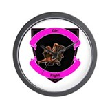 girl fight tee's Wall Clock