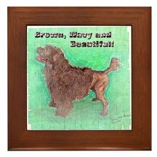 Portuguese Water Dog Brown Wavy Framed Tile