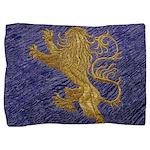 Rampant Lion - gold on blue Pillow Sham