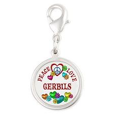 Peace Love Gerbils Silver Round Charm