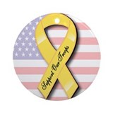 Yellow Ribbon Support Our Troops Ornament (Round)