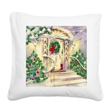 Vintage Christmas House Square Canvas Pillow