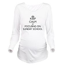 Keep Calm by focusin Long Sleeve Maternity T-Shirt