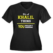 Khalil Women's Plus Size V-Neck Dark T-Shirt
