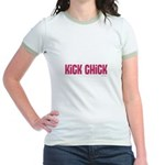 Kick Chick (Raspberry Sorbet) Jr. Ringer T-Shirt