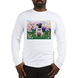 Blossoms Scene with Fawn Pug Long Sleeve T-Shirt