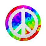 Groovy Rainbow Peace Sign Ornament